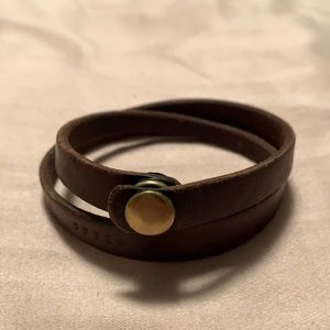Weathered brown leather double wrap bracelet